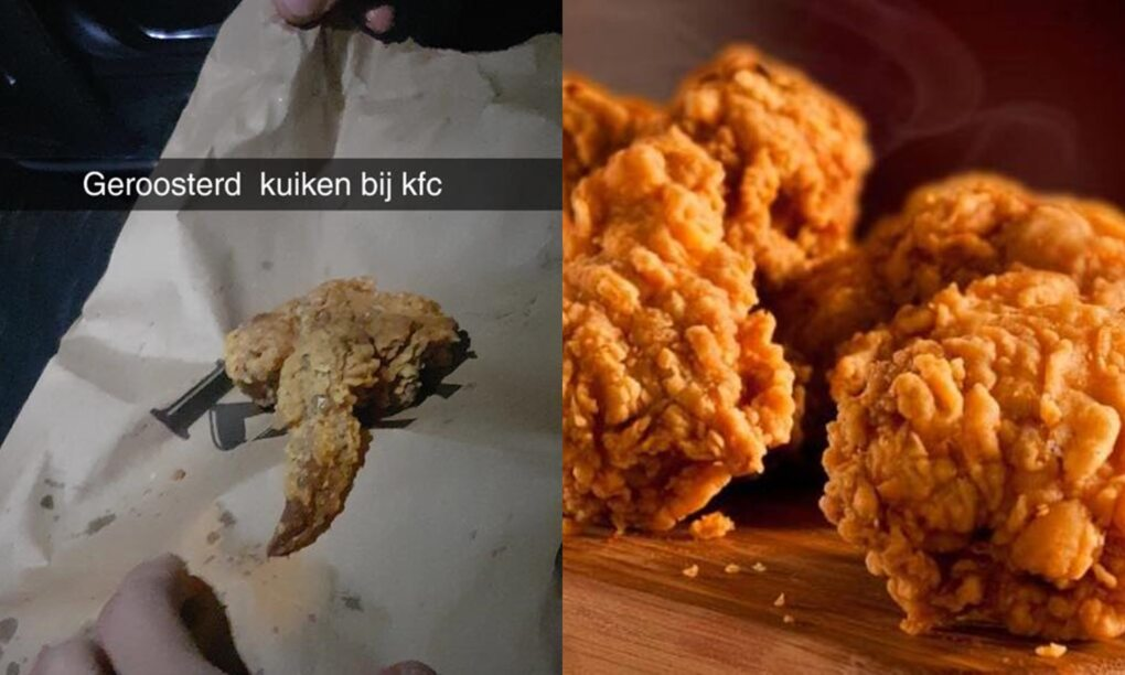 Gast vindt geroosterd kuikentje tussen zn hotwings bij KFC