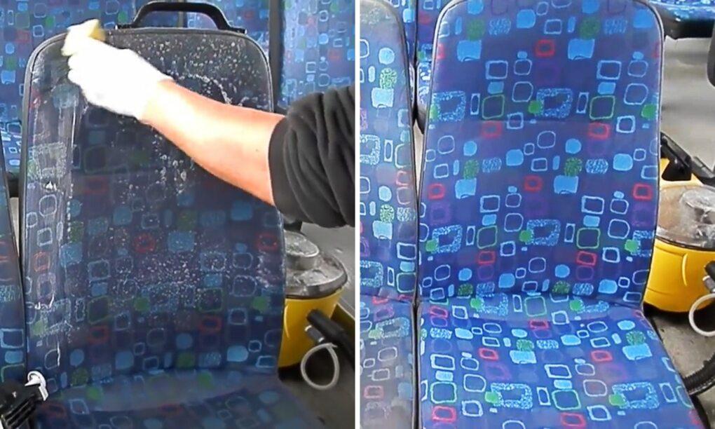 Er is een reden waarom busstoelen lelijke prints hebben en deze video bewijst het