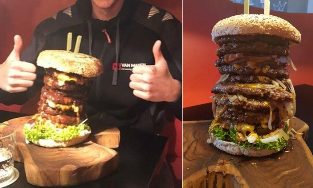 Restaurant Barneveld daagt je uit Eet een hamburger van 27 kilo