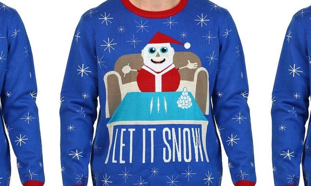 Walmart maakt excuses voor coke snuivende kerstman trui 1