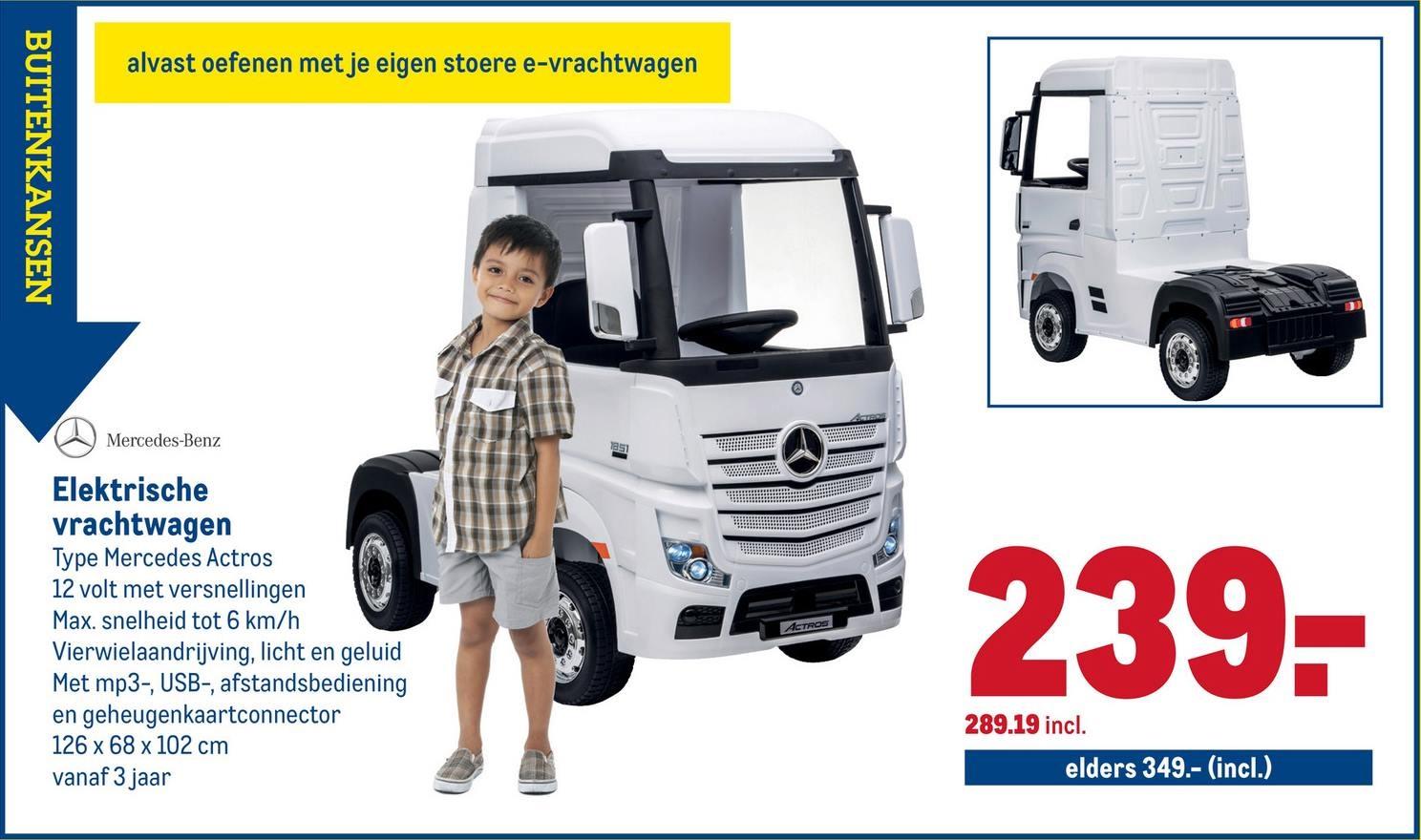 Makro elektrische Mercedes Benz vrachtwagen speelgoed 2