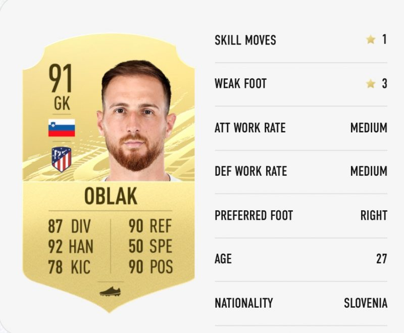 Jan Oblak Ratings FIFA 21