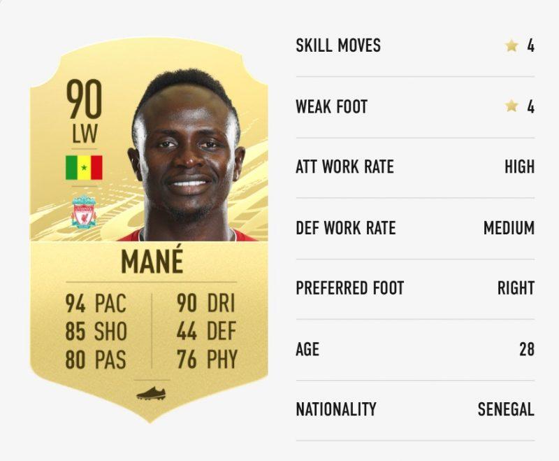 Mane FIFA 21 Ratings