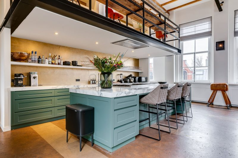 design, appartement, funda, gymzaal, keuken