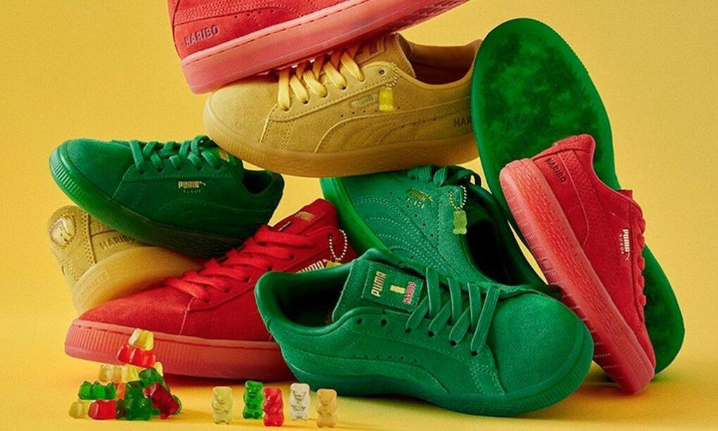 puma x haribo sneakers, suede